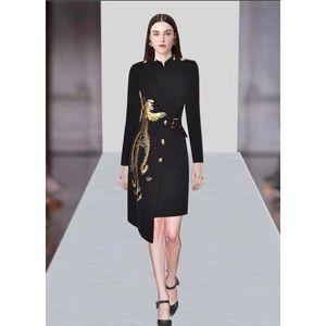 Golden Phoenix Black Embroidery Asymmetrical Dress